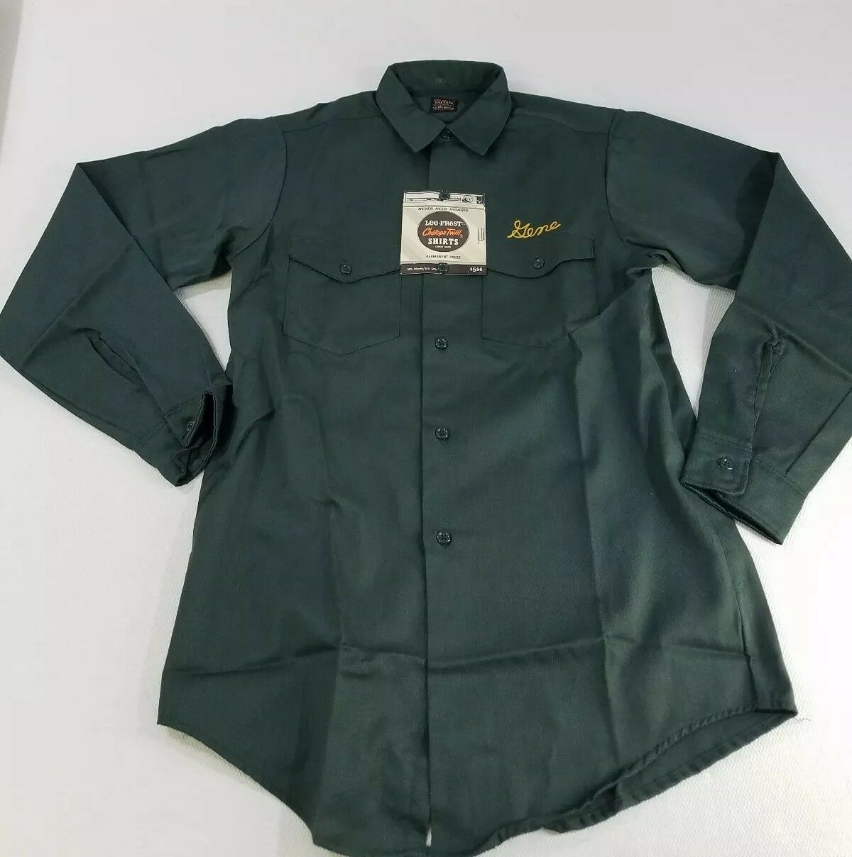 Lee-Prest Tech-Twill Mens Med Vintage 70s Green Cotton Workwear Work Shirt Gene