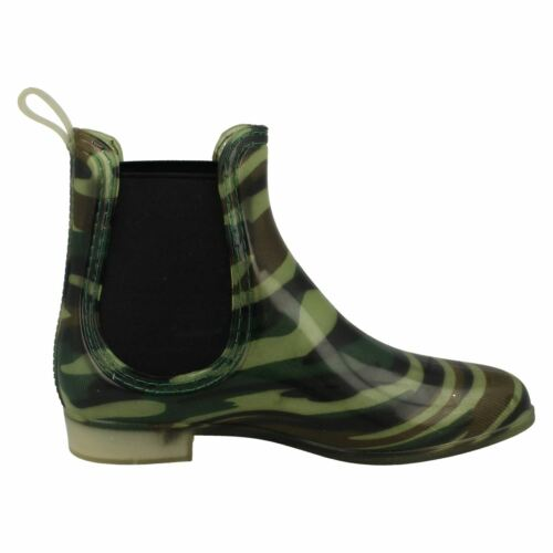 X1R217 LADIES SPOT ON LOW HEEL PULL ON CAMOUFLAGE ANKLE WELLINGTON BOOTS WELLIES