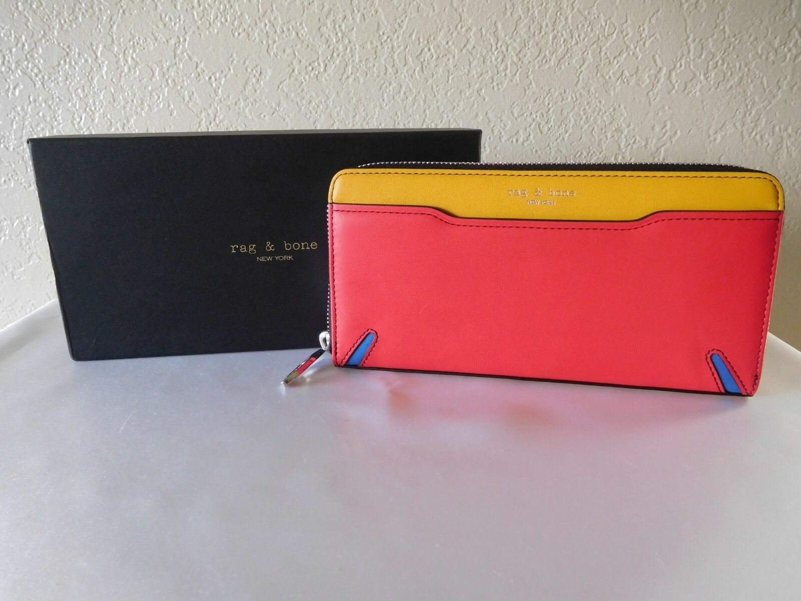 New Rag & Bone Crosby Multi Colorblock Leather Continental Clutch Wallet