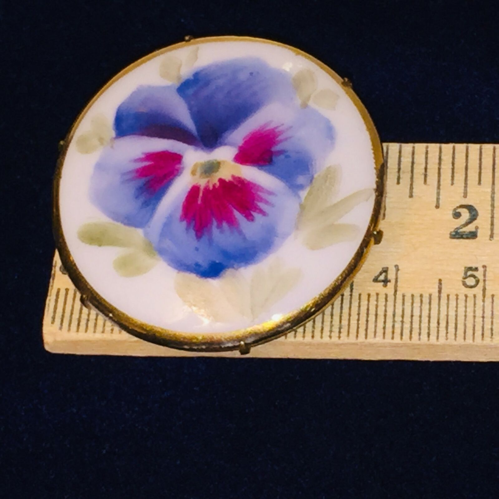 Antique Victorian Pansy Flower Blue Hand Painted … - image 4