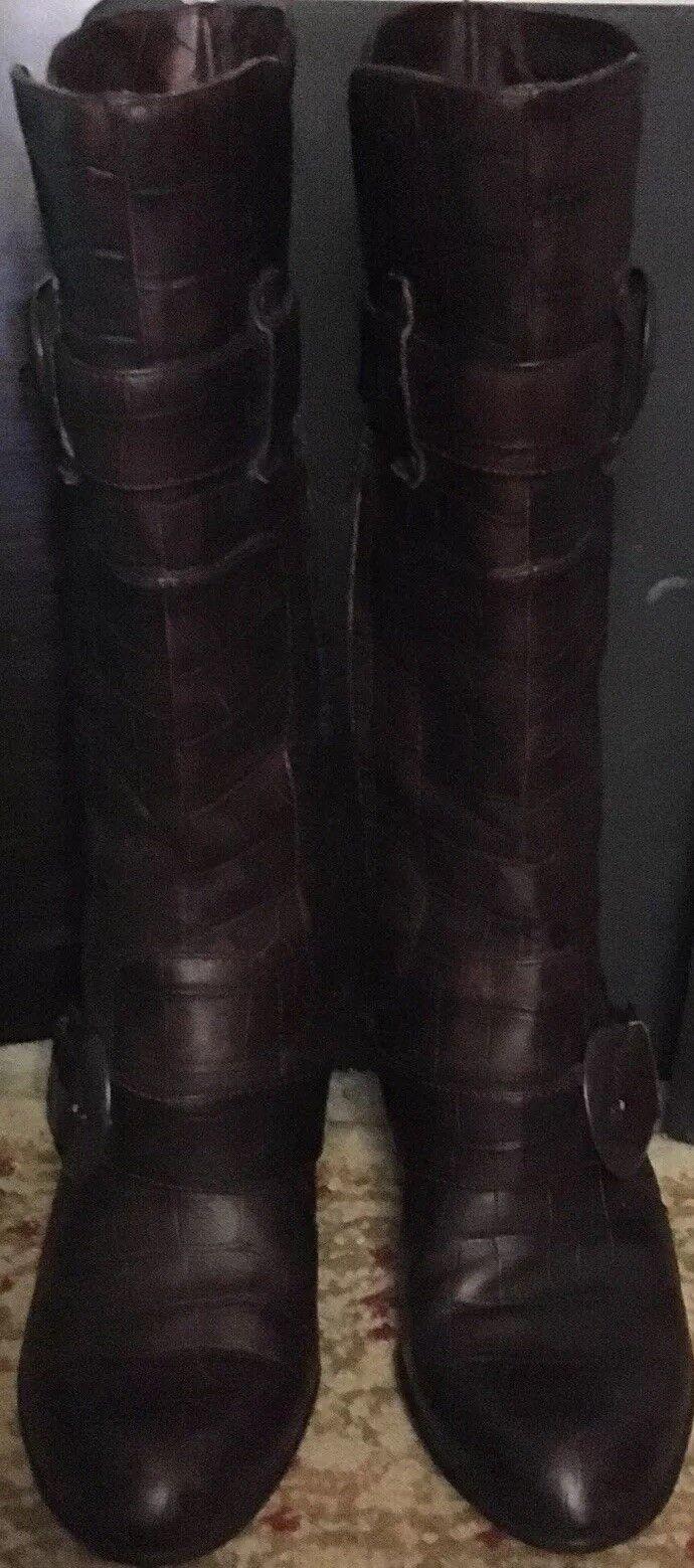 Femme née bottes 7.5 m marron Crocodile Texture matériaux en cuir excellent état utilisé