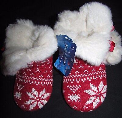 Nuevo Chicas Zapatillas Botas Talla 11 EUR 29 Marks & Spencer Rojo Navidad Peluche