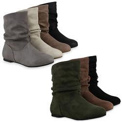 Damen Schlupfstiefel Leder-Optik Stiefeletten Bequeme 812208 Schuhe