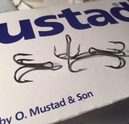 Mustad Treble Hooks 25pc 3X 7794BN Taille #4 Chrysostome Nickel Noir Détroit point