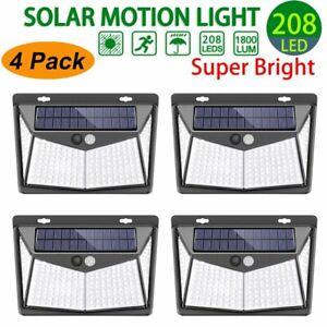 208-LED-Energia-Solar-Sensor-De-Movimiento-PIR-Luz-De-Pared-Lampara-De-Jardin-Lampara-Exterior