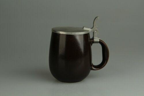 Bierkrug mit Zinndeckel H 14,8 cm Rosenthal Terra Campagna Braun Beige