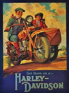 Vintage-Harley-Davidson-with-side-car-ad-reproduction-steel-sign-biker-decor