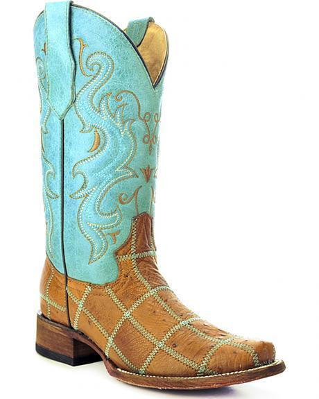 LADIES CIRCLE G SQUARE TOE PATCHWORK GENUINE OSTRICH WESTERN BOOTS L5199