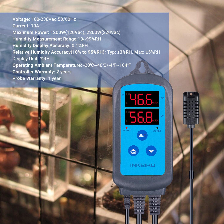 EU Plug Inkbird Wifi Humidity Controller Digital Humidistat 220V Greenhouse Tent