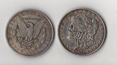 1878 CC Morgan Dollar Novelty Fantasy Coin With Skull Zombie Head