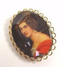 Vintage Portrait Brooch Silhouette Woman Lady Gold Tone Cabochon Retro Pin Oval