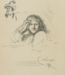 C-Peacock-1885-Self-Portrait-with-aufgestutztem-Head-1904-bleistiftzchng