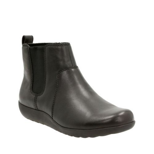 Clarks Women's Medora Grace Black Leather Ankle Boots 26121860