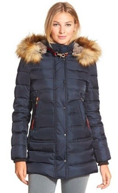 New Vince Camuto Women's Faux-Fur-Trim Hooded Puffer Down Coat Navy bluee M L