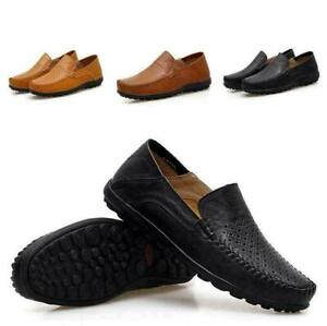 mens breathable leather slip on loafers driving casual