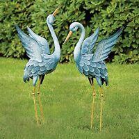 Two Metal Cranes Japanese Blue Heron Garden Sculpture Set Art Outdoor Lawn Decor