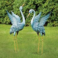Two Metal Cranes Japanese Blue Heron Garden Sculpture Set Art Outdoor Lawn Decor