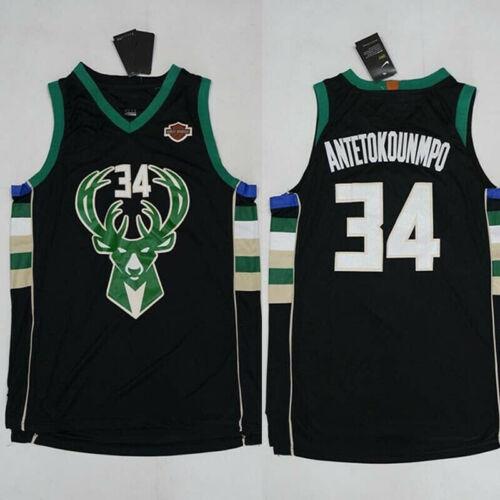 Men/'s Milwaukee Bucks #34 Giannis Antetokounmpo Black Swingman Basketball Jersey