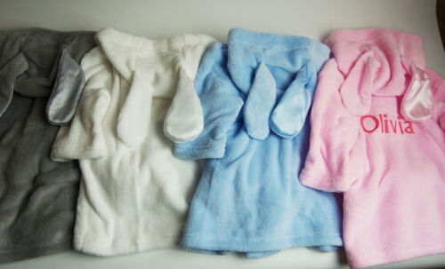 Embroidered Personalised Baby Bath Robe Dressing Gown with Ears Boy Girl Gift