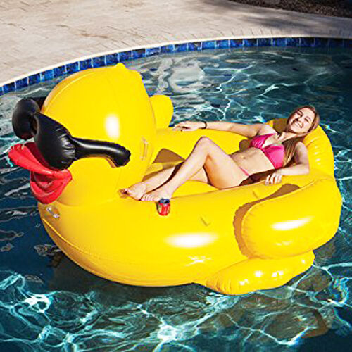 Inflatable Giant Riding Duck Derby Float Swimming Pool Beach Lounge Water Raft Ebay