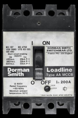 DORMAN SMITH 200 AMP 25kA TRIPLE POLE MCCB LOADLINE AA