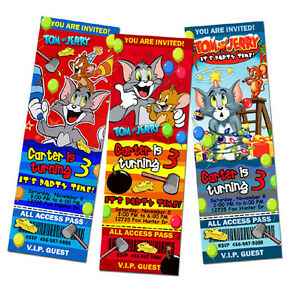 TOM JERRY AND BIRTHDAY PARTY INVITATION TICKET CUSTOM card INVITES
