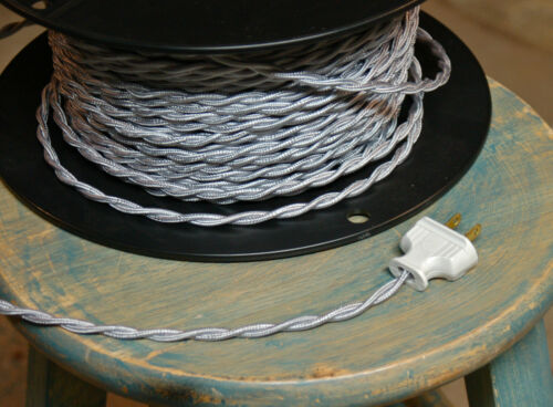 Vintage Style Lamp Cord Antique Lights Rayon Silver Twisted Cloth Covered Wire