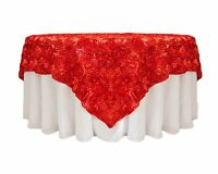 10 Grandiose 3d Large Rose 90x90 Rosette Satin Overlays Tablecloth Table Cover