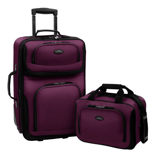 US Traveler Purple Rio 2-Piece Carry-on Lightweight Rolling Luggage Tote Bag Set