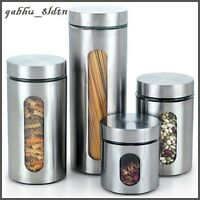 Cook N Home 4-Piece Glass Canister with Stainless Window Set Kitchen