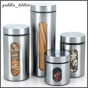 Stainless Steel Canister Set Kitchen Storage Containers Coffee Flour