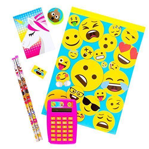 Emojis 7 Piece Fun Set:  Calculator 2 Pencils Notepad Unicorn Memo Eraser