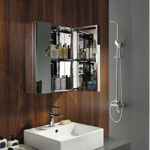 New-Stainless-Steel-Mirror-Double-Doors-Wall-Mounted-Bathroom-Storage-Cabinet