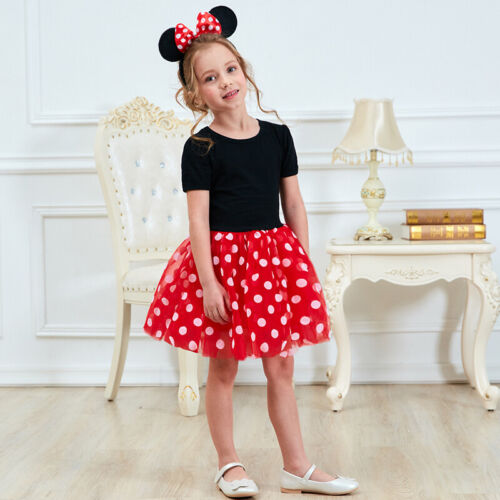 Minnie Mouse Dress for Girl Baby Kids Polka Dot Birthday Party Halloween Costume