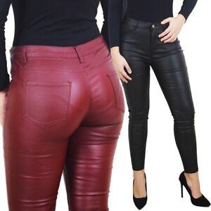 Eco Donna Elasticizzati Push Up Aderenti Pantaloni Skinny Sexy Pelle qaBZtd