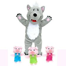 Fiesta Crafts Big Bad Wolf and 3 Little Pigs Hand & Finger Puppet Set Kids Gift