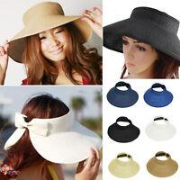 Hot Ladies Summer Sun Beach Folding Roll Up Wide Brim Straw Visor Hat Cap lot GF