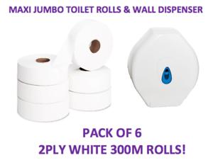 Maxi-Jumbo-Rollos-De-Papel-Higienico-Rollo-amp-Dispensador-de-300M-Paquete-de-6-Papel-Comercial