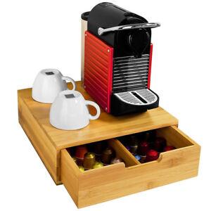 Portacapsule-Cassetto-Porta-Cialde-Capsule-Caffe-Bustine-Te-Zucchero-Legno-Bambu