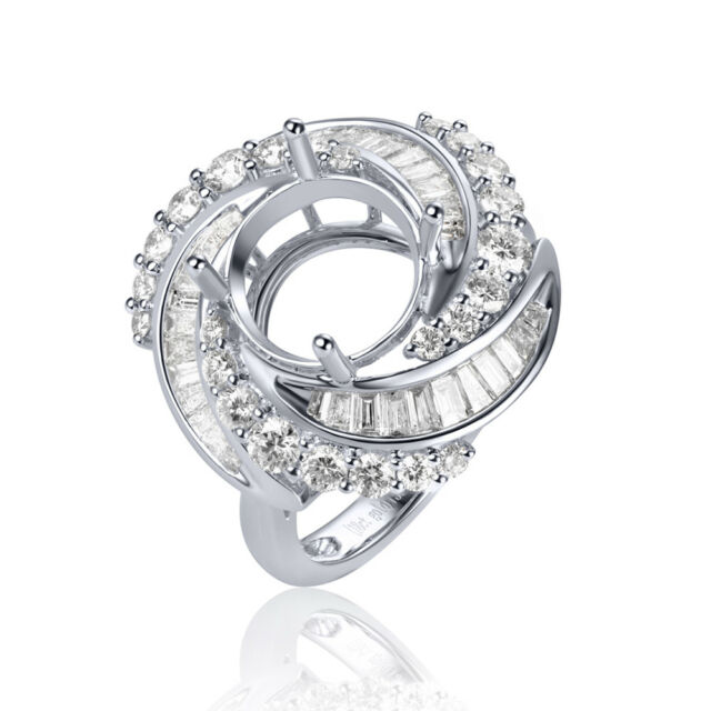 14K White Gold 9mm Round 1.5ctw Baguette Diamond Ring Mount Prong Jewelry