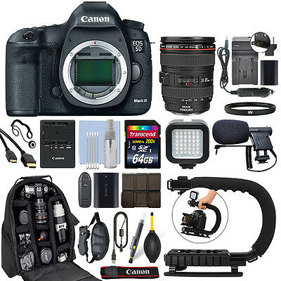 Canon EOS 5D Mark III SLR Camera with 24-105mm f/4L USM Lens+ 64GB Pro Video Kit