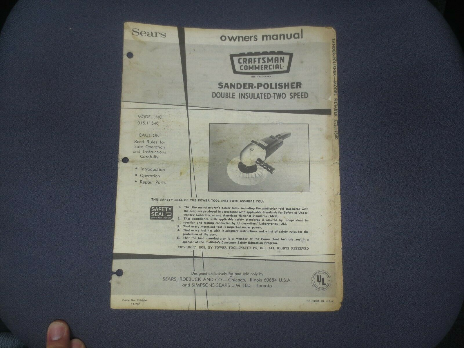 ☆ 1973 Sears Craftsman Owners Manual SANDER - POLISHER - TWO SPEED - INSULATED