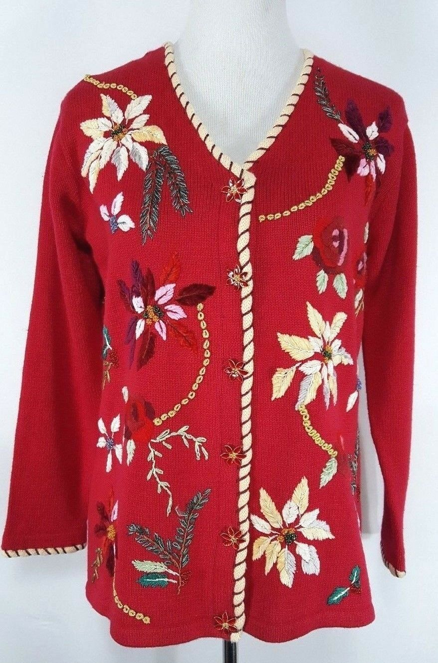 Storybook Knits Women's Cardigan Sweater S Christmas Holiday Floral Embroidered