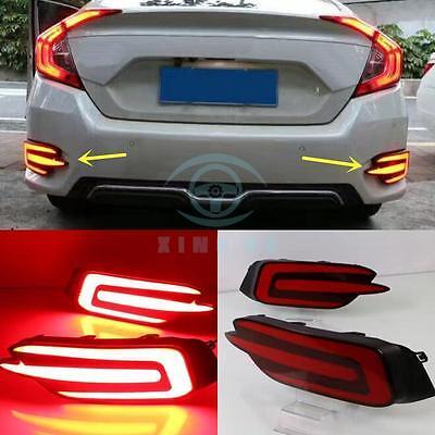 For Honda Civic 10th 2016 2pcs LED Rear Fog Lamp Fog Light stop lamp brake lamp