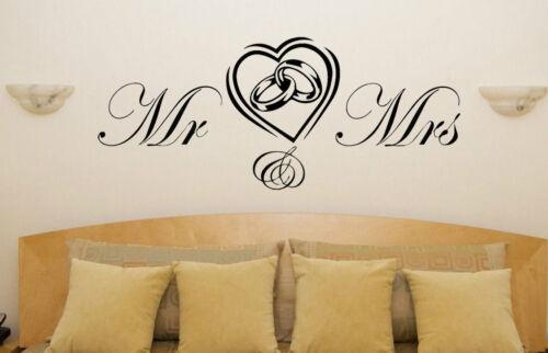 Mr /& Mrs in Heart Vinyl Sticker crafting home decor walls wedding 3 sizes