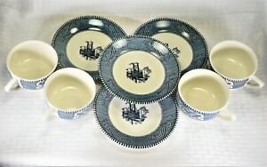 Royal-USA-Currier-and-Ives-Blue-Flat-Cup-amp-Saucer-Set-x-4
