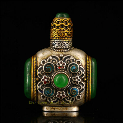 """2.76/"""" Collection Chinese silver gilt inlay gem Handmade snuff bottle"""