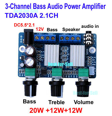 DC 12V TDA2030A 12W*2+20W 2.1 Channel Subwoofer Audio Amplifier Board Stereo Amp