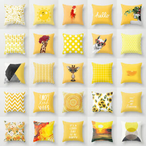 Details About 18 Cotton Linen Yellow Throw Cushions Cover For Sofa Chair Decorative Pillows