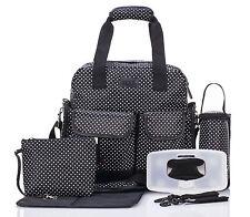 Allis Baby Changing Bag Functional Nappy Diaper Backpack 7PCs PVC FREE - Black